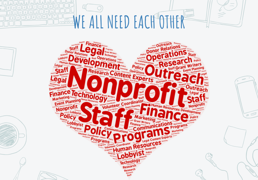 """Word cloud shaped like a heart with various nonprofit staff departments and the words """"We all need each other"""""""